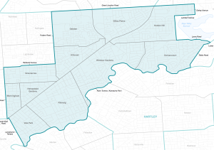Torrens electorate showing the suburbs - Dignity Party SA