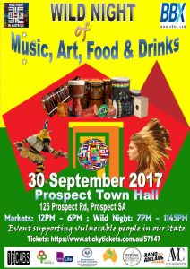 wild night of music art food and drink. 30 september 2017