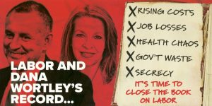 dana wortley according to the libs - a red background making them look evil, and a poor track record